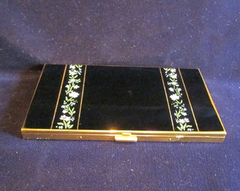Volupte Cigarette Case Ladies Business Card Case Credit Card Holder 1950s Enamel Floral Case