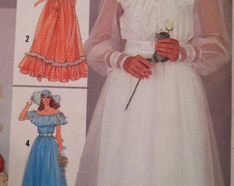 Gunne Sax wedding dress pattern, Simplicity 6361, size 6, 80's wedding dress,  peasant wedding, prairie wedding