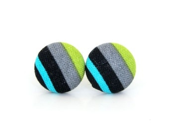 Bright striped earrings - green blue fabric earrings - button earrings - stud earrings black gray grey - gift for her