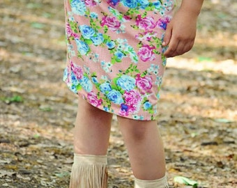 Girls Knit pencil skirt in pink floral