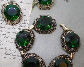Vintage Large Green Rhinestone & Gold Filigree 5 Link Bracelet Earrings Set
