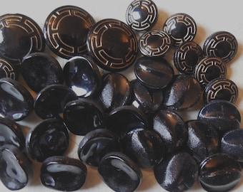 3 Sets Vintage Black Glass Buttons 34 Total