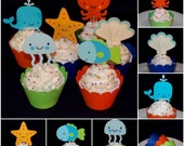 Under the Sea Cupcake Topper Octopus Fish Whale Starfish Food Pick Party Pick Sea Creature Birthday Baby Shower Decoration Cupcake Wrapper