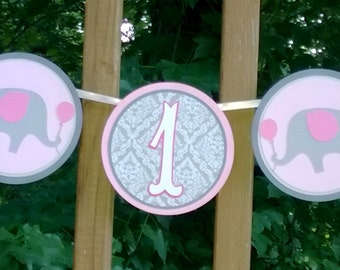READY TO SHiP Elephant High Chair Banner Pink & Grey Elephant Age Banner Girl Birthday Banner Party Decoration 1st Birthday Party Photo Prop