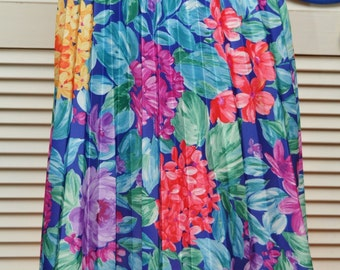 Vintage Womens Bright Floral Skirt/Pleated 80s 90s/Yellow Purple Fuchsia Blue/Elastic Waist by Blair Polyester Secretary Daywear Small Med