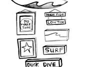 Surf Decor Wall Design Idea. No Wake Zone Kids Room Decor Beach Surf Baby Nursery Beach House Whale Art Decor.  Mangoseed by Christina Rowe