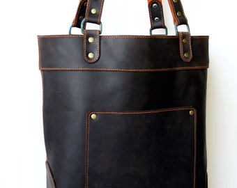 Leather Everyday Tote- basic leather tote- basic tote bag- everyday tote bag- fully lined tote