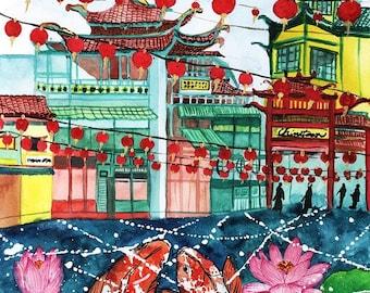 Chinatown Chinese New Year Koi Fish Watercolor Painting Poster Print, Chinatown plaza watercolor poster print, Lala Land Chinatown art print