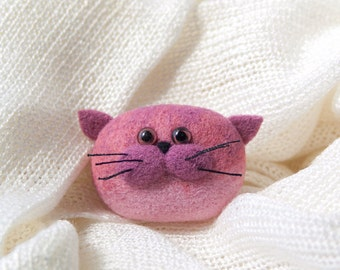 Cat - Felt Jewelry - Handmade Brooch - Pink