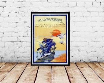 Vintage Motorcycle Ad Flying Merkel Lithograph circa 1910