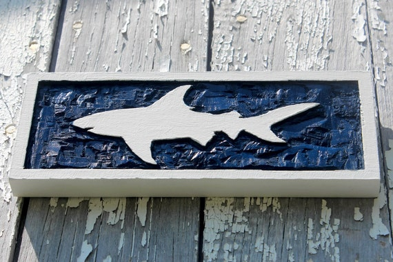 Pier One White Carved Wall Decor : White shark wall art hand carved beach decor nautical wooden