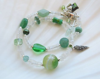 summer gemstone silver beach anklet. 50 SHADES OF GREEN. beach anklet. natural stones. green and white anklet. unique anklet. moonstone.