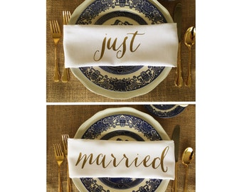 Just Married Cloth Napkins