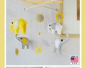 Baby Crib Mobile, Baby Mobile, Nursery Decor, Kids Mobile, Baby Shower Gift, Elephants Mobile, Polka Dot Sunflower Yellow Gray White
