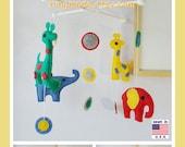 Baby Mobile, Elephant and Giraffe Mobile, Felt Mobile, Colorful Mobile, Polka Dot Mobile, Blue Green Red Yellow,Custom Mobile