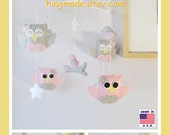 Baby Mobile,Owl Mobile,Ceiling Hanging Mobile, Owls and Birds Mobile, Pink and Gray Nursery Decor