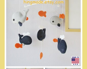 Baby Mobile, Nursery Decor, Whale Mobile, Baby Boy Mobile, Fish Mobile, Navy Blue Gray Orange, Custom Mobile