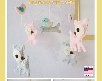 Baby Crib Mobile, Baby Mobile, Nursery Mobile, Deer Mobile, Turquoise Pink Grey Forest Mobile, Custom Mobile