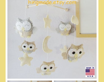 Baby Mobile, Baby Crib Mobile, Nursery Decor, Cot Mobile, Neutral Mobile, Owl Mobile, Starry Night Mobile, Ceiling Hanging Mobile
