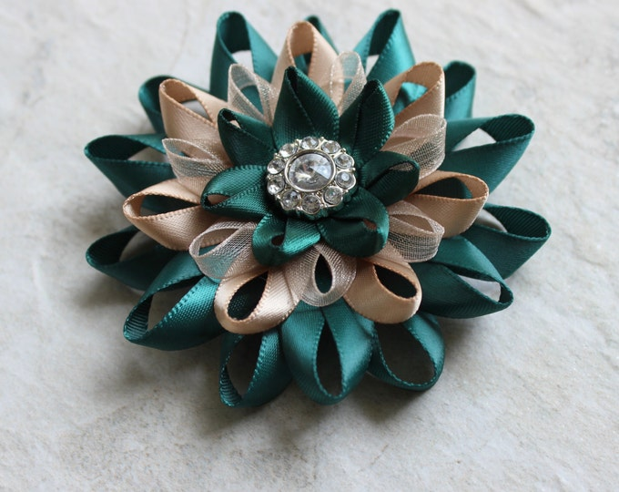 Teal Hair Flower, Teal Hair Accessories, Teal Green Wedding Flowers, Teal Wedding, Bridesmaid Hair Flower, Champagne and Teal Hair Clip
