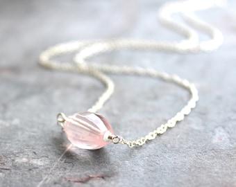 Rose Quartz Necklace, Faceted Pink Stone Necklace, Sterling Silver, Barrel Gemstone