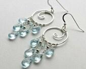 Sky Blue Topaz Chandelier Earrings, Silver Koru Earrings, Boho Chandelier Hoops, Gypsy Earrings, Silver Swirl Earrings
