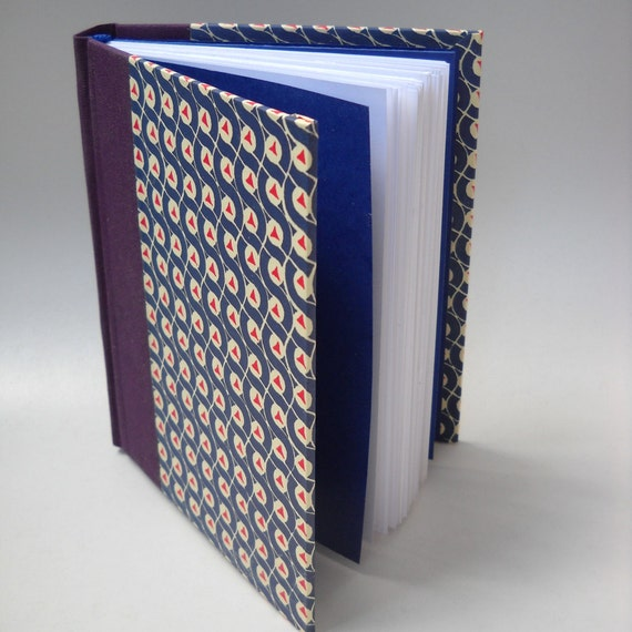 Blue and Purple Hardcover Journal,  Italian Carte Varese Cover, Handmade Journal