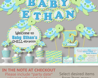 Ligth Blue Green Boy TURTLE First Birthday Party or Baby Shower Decorations - Invitation, Banner, Blue Green, Cake Topper, Cupcake