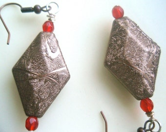 Bronze Diamond Earrings with Red Crystals, Diamond Earrings, Red Earrings