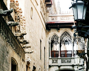 Barcelona Photography - Gothic Quarter Photo - Spanish Architecture Print - Urban Art Spain Photograph Square Neutral DecorTravel
