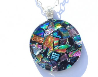 Dichroic Glass Pendant, Fused Glass Jewelry, Necklace; Modern, Circle, Large Round, Abstract - Bright Colorful / 38mm (Item #10720-P)