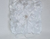 Ring Bearer Pillow White Satin with Silver and Crystal Accent  and 3D Rosette Flowers