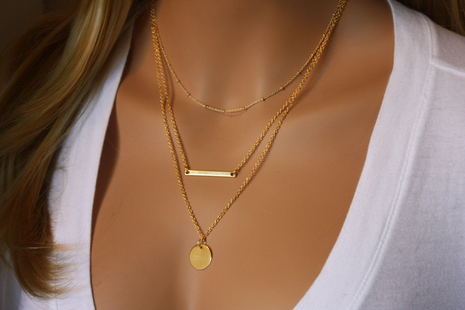 Permalink to 3 Layer Necklace Gold