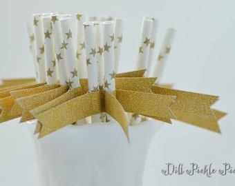 Gold Star Paper Straws with Gold Glitter Flags - 25 count
