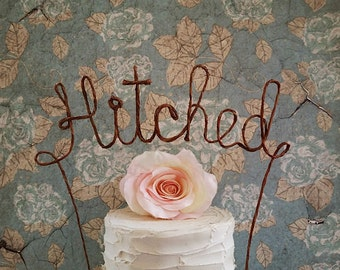 Rustic HITCHED Cake Topper Banner - Rustic Wedding Decoration, Shabby Chic Wedding, Barn Wedding Cake Topper, Garden Party