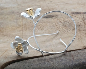 Silver Flower Earrings, Unusual Flower Hoop Earrings, Designer Earrings, Flower Jewelry, Lightweight Trending Earrings Original Gift for Her