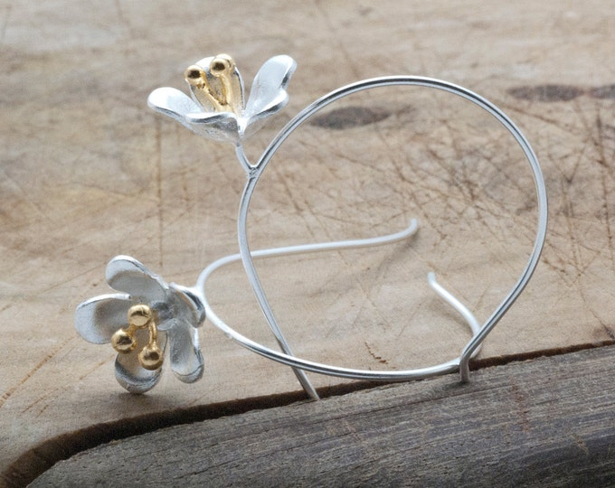 Featured listing image: Silver Flower Earrings, Unusual Flower Hoop Earrings, Designer Earrings, Flower Jewelry, Lightweight Trending Earrings Original Gift for Her