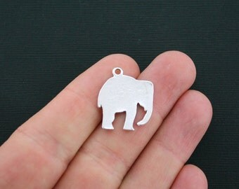 4 Elephant Charms Antique Silver Tone 2 Sided Silhouette - SC4668