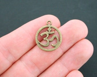 6 Om Charms Antique Bronze Tone Large Size Circle - BC399