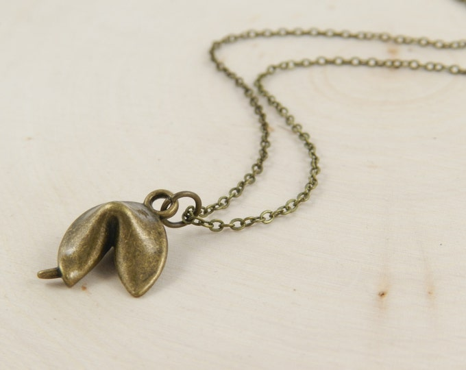 Fortune Cookie Charm Necklace, Brass Fortune Cookie Necklace, Good Luck Charm