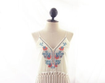Top Fringe Tunic Vest Moroccan Cropped Bohemian Strappy Coachellla Cream Embroidery Woodstock Tribal Gypsy Festival Trippy Aztec Chiffon