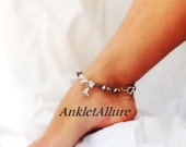 OWW Rocky Beach Foot Anklet Beach Anklet Stone Anklet Silver Ankle Bracelet