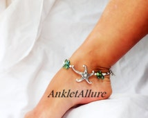 Beach Feet Starfish Anklet Cruise Vacation Ankle Bracelet Sea Green Crystal Beach Ankle Bracelet Silver Ankle Bracelet
