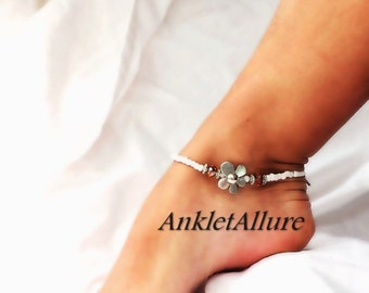 Flower Feet Flower Anklet Citrine Topaz White Beach Ankle Bracelet Beach Jewelry