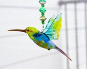 Handmade Glass Hummingbird with Fair Trade Cereal Box Beading - Great Birthday and Mother's Day Gift - Unique Glass Wall Art