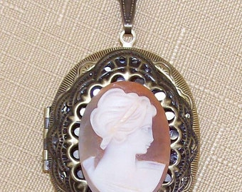 vintage shell Cameo locket necklace Pill Box oil Diffuser Locket carved carnelian Cameo Pendant Gifts for her cameo jewelry supply   F141