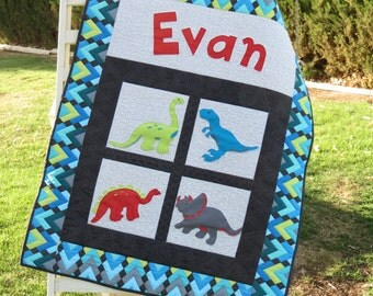 Personalized Baby Quilt with Appliqued Dinosaurs
