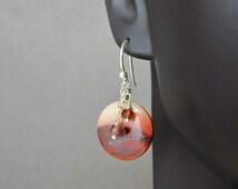 Mookaite Jasper Earrings - Natural Stone Jewelry - Sterling Silver Jewelry - Dark Red Garnet Earrings - Silver Earrings Handmade