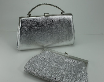 Vintage Silver Lame' Clutch Purses Handbags - Set of 2