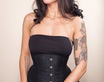 FULLY CUSTOM Black silk underbust corset - Free shipping